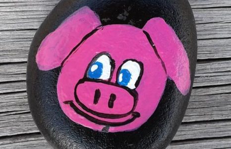 Painted rock with a pig